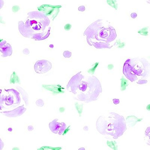Tender amethyst roses • watercolor florals for nursery, home decor