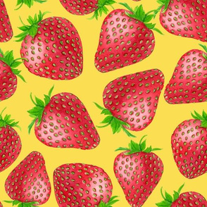 Red strawberries on yellow