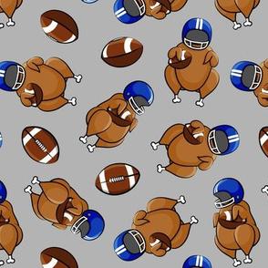 Football Turkey - Turkey with helmet and football - blue on grey - LAD19