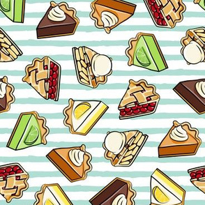 All the pie -  thanksgiving day desserts - pie slice - aqua stripes - LAD19