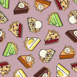 All the pie -  thanksgiving day desserts - pie slice - mauve  - LAD19