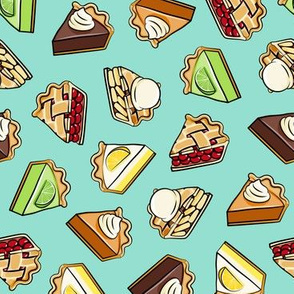 All the pie -  thanksgiving day desserts - pie slice - aqua - LAD19