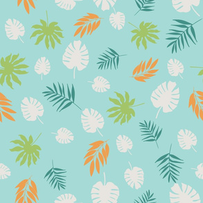 Exotic Tropical Leaves on Light Blue