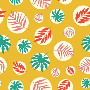 Tropical leaves on yellow