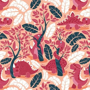 Dinos playing hide-and-go-seek // small scale // coral background red dinosaurs