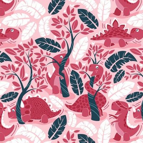 Dinos playing hide-and-go-seek // small scale // pink background red dinosaurs
