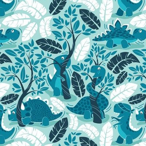 Dinos playing hide-and-go-seek // small scale // aqua background teal dinosaurs