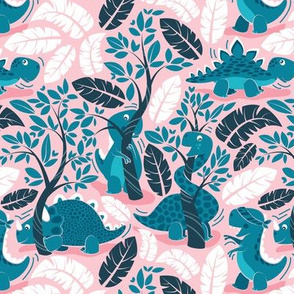 Dinos playing hide-and-go-seek // small scale // pink background teal dinosaurs