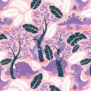 Dinos playing hide-and-go-seek // small scale // pink background violet dinosaurs