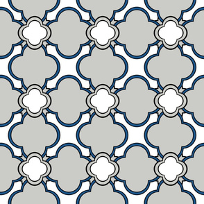 Morocco (Gray with Blue and White) 6inch Repeat, David Rose Designs