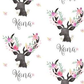 Personalized - Custom Name - Kona (floral deer)
