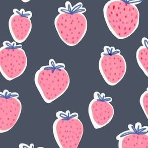 Strawberries dark grey background