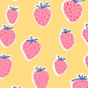 strawberries in pink with yellow