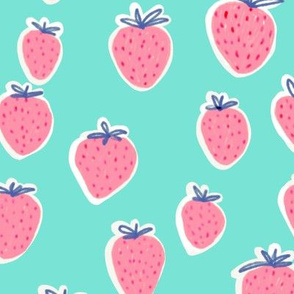 Strawberries pink and turquoise background