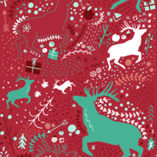 Teal and Red Bright Scandinavian Repeat Stag