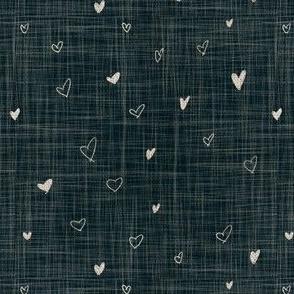 Denim Textured Linen Hearts