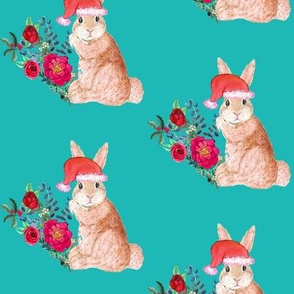 rabbit santa with Holiday Flowers,