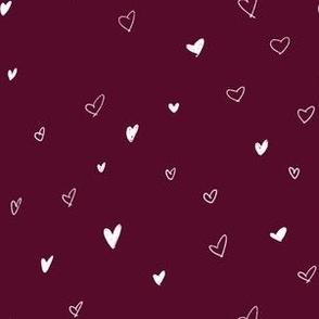 Hand Drawn Bohemian Sketch Hearts Burgundy