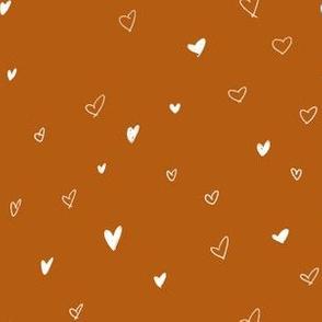 Burnt Orange Hand Drawn Bohemian Hearts