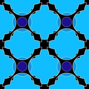 Morocco (Blue Symmetry) 20inch Repeat, David Rose Designs