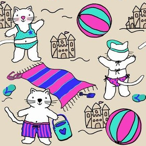 Silly Cats at the Beach /Pink Blue Turquoise Sand