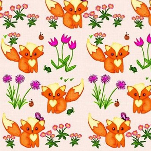 Flutterbies, Flowers & Foxes / soft pink