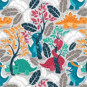 Dinos playing hide-and-go-seek // small scale // grey background red orange green and teal dinosaurs