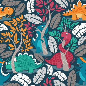 Dinos playing hide-and-go-seek // normal scale // blue background red orange green and teal dinosaurs