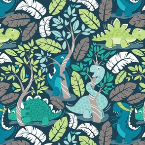 Dinos playing hide-and-go-seek // small scale // blue background aqua teal and green dinosaurs