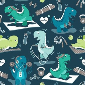 Fitness exercises for a dino // small scale // dark blue background aqua teal and green t-rex dinosaurs