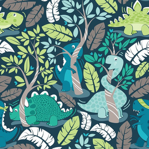 Dinos playing hide-and-go-seek // normal scale // blue background aqua teal and green dinosaurs
