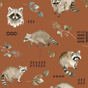 Watercolor Raccoons and Mudcloth // Sepia