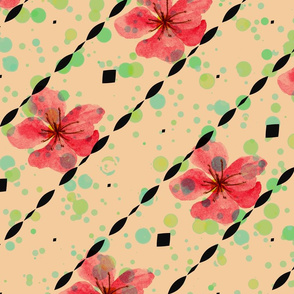 Cherry Blossom with green dots
