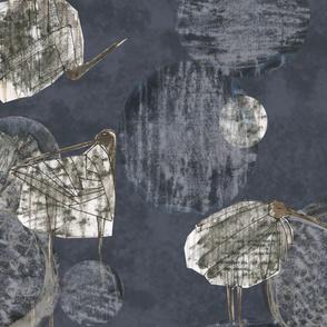 Birds, rocks and the Moon (dark)