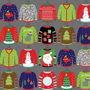 Ugly Christmas Sweaters on Grey 2""