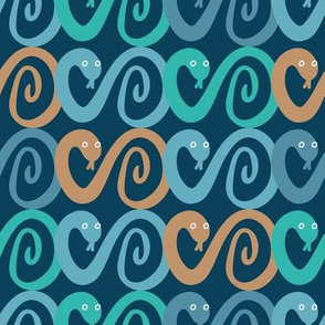 teal and turquoise snakes