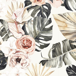 large // Paradise palms, peonies and lillies tropical plants