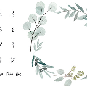 french // Eucalyptus milestone blanket days weeks months years