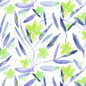 Midsummer bloom in indigo and green • watercolor floral pattern