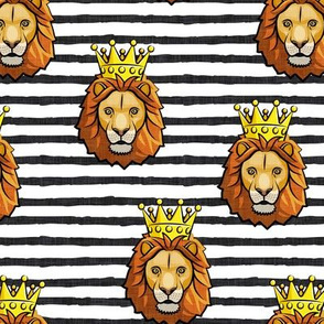 Lion - king - crowned - black  stripes - LAD19