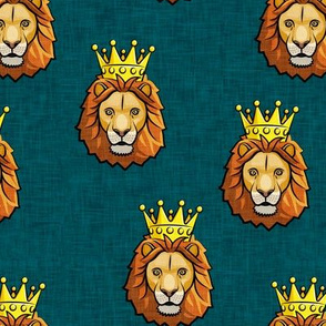 Lion - king - crowned - dark teal - LAD19