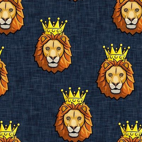 Lion - king - crowned - blue - LAD19