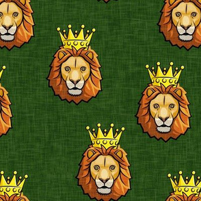Lion - king - crowned - green - LAD19
