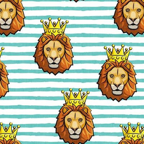 Lion - king - crowned - aqua stripes - LAD19