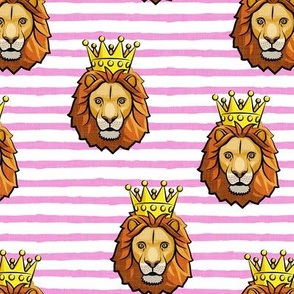 Lion - king - crowned - pink stripes - LAD19