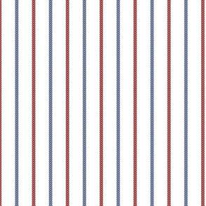 Baseball Ball Stitch Ticking Stripe on White Small Scale - Sandlot Sports Collection