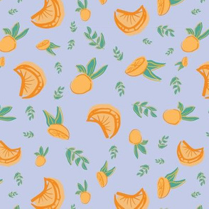 oranges with leaves seamless repeat pattern design.