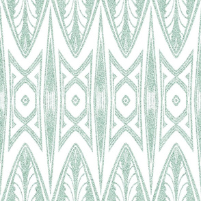 Tribal Shield Pattern in Velvety Green and White