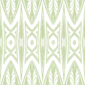 Tribal Shield Pattern in Velvety Lime Green and White