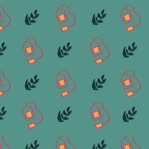tea bag leaves seamless repeat pattern design
